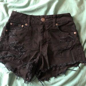Black American Eagle high waisted fray Jean shorts